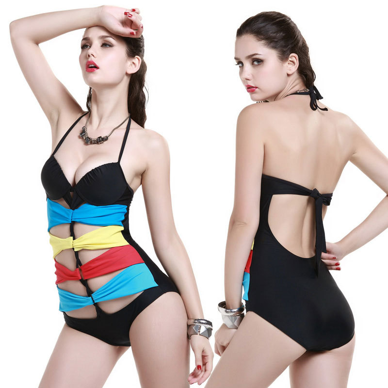 Sexy New Rainbow ribbon One Piece push up MONOKINI SWIMSUIT SWIMWEAR - Ropa deportiva y accesorios - foto 1
