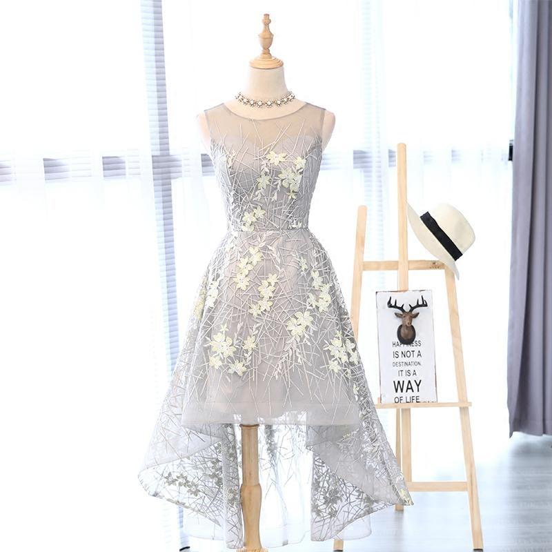 I lager Really Photo Silvery Scoop Neck Tulle Med Appliques Broderi - Särskilda tillfällen klänningar - Foto 2