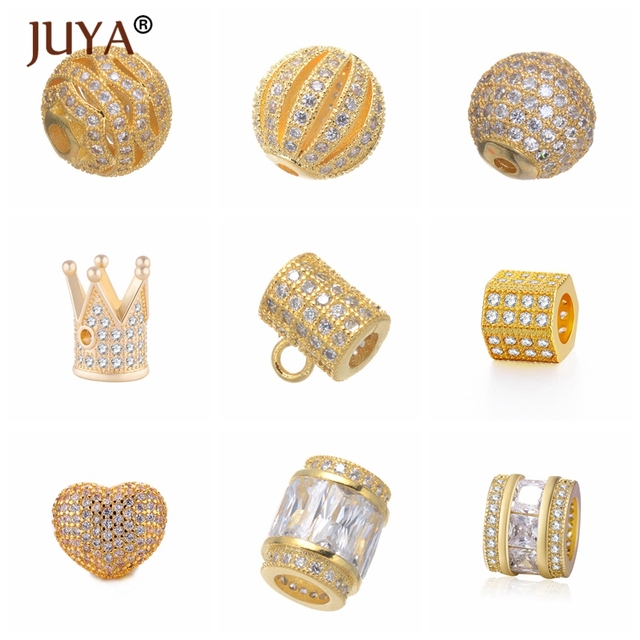 Wholesale 9pcs Copper Metal Luxury Shiny AAA Zircon Rhinestone Charm Beads  For Jewelry Making DIY Women Bracelets Necklaces Bead 80b3741c3a0c