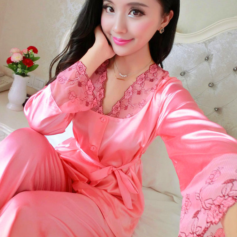 Luxury Silk Pajamas Set Women Summer Autumn Lace Stitch Satin Sleepwear Ladies Casual Sleepcoat & Pants Plus Size