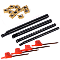 10pcs CCMT060204 Inserts 4pcs SCLCR06 Lathe Turning Tool Boring Bar 7 8 10 12mm With 4pcs