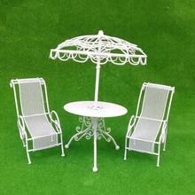 1/12 кукольный домик Миниатюрный стол стулья набор открытый сад набор декораций расположение пейзажей, черный/белый