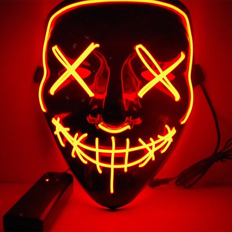 3 días proceso 2018 Año Nuevo Cosplay luz LED máscara desde el año de la purga elección ideal para Festival Cosplay traje de Halloween