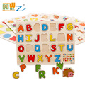 Free shipping wooden children's educational toys PUZZLE  letters cartoon animals Digital operation School Educational Supplies