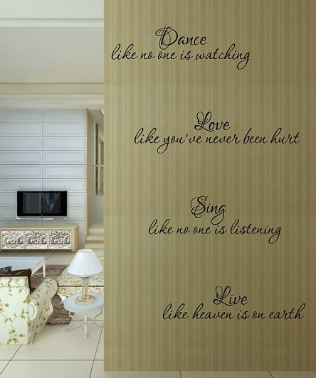 free shipping dance sing english quote saying vinyl wall art decal home decor new year mural wall stickers in wall stickers from home garden on