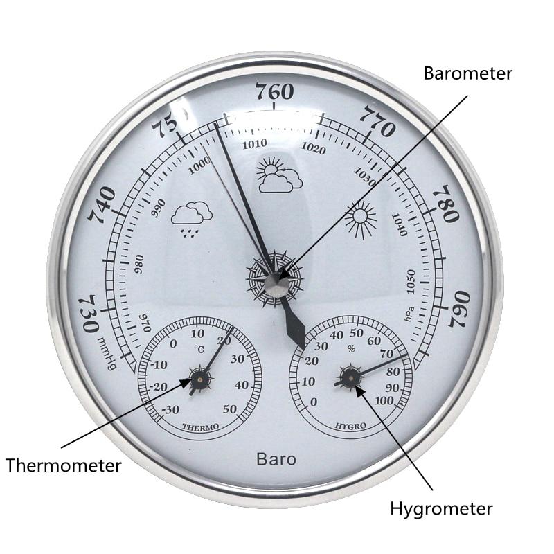 Barómetro analógico higrómetro termómetro colgando de la pared de temperatura y humedad Monitor de la presión atmosférica medidor para uso en el hogar