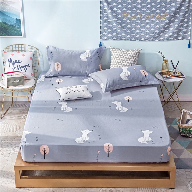 Cartoon Gray White Little Fox Pattern Polyester Fitted Sheet Bed Sheets Comfort Mattress Cover