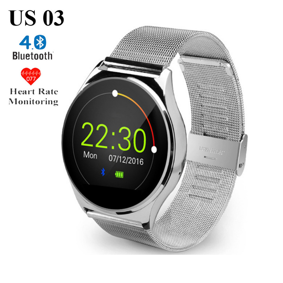 US03 Bluetooth Smart Watch Sleep Heart Rate Monitor Pedometer for iPhone 5s 6s 7 Plus for