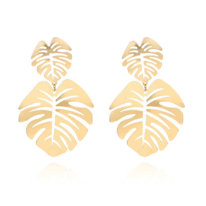 Europejskie proste geometryczne metalowe okrągłe kolczyki dla kobiet liść kwiat kolczyki Pendientes biżuteria ślubna etniczne Party hurtownia