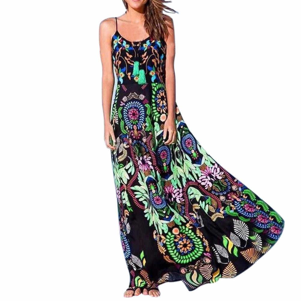 Plus Size Long Dress Women Bohemian Floral Print Sling Long Dress Summer  Retro Vintage International Sleeveless 9bf5dd418f92