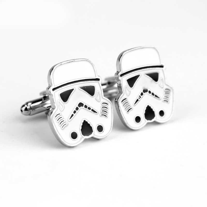 New Fashion Design Jewelry Cufflinks Metal Star Wars White knight French Cuff Button Wedding Gift For Men Accessories