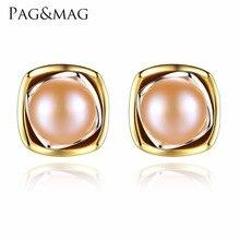 PAG и mag бренд Классический стерлингового серебра 925 Белый/Розовый жемчуг push-обратно серьги для женщин Мода ювелирные изделия FE0091
