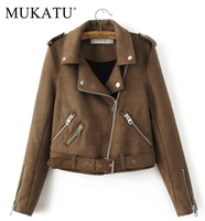 MUKATU New Fashion Women Suede Motorcycle Jacket Slim Brown Full Lined Soft Faux Leather Female Coat