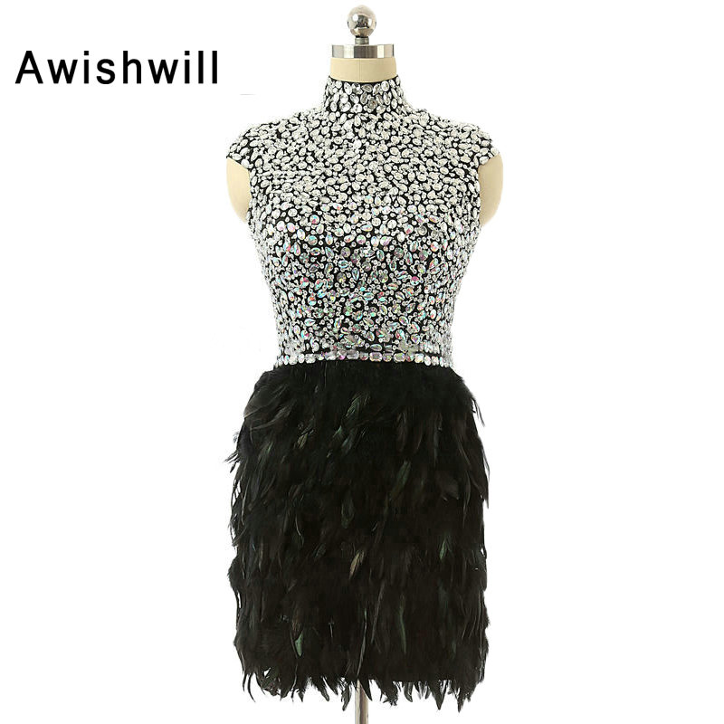 2019 Vestido Curto High Neck Black Party Dress Short Open Back Chic Evening Gown Beaded Rhinestones Feather Cocktail Dresses