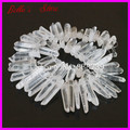 Clear Raw Quartz Long Point Pendants Rock Crystal Quartz Top Drilled Briolettes Stick Beads Natural Druzy Quartz Spike Beads
