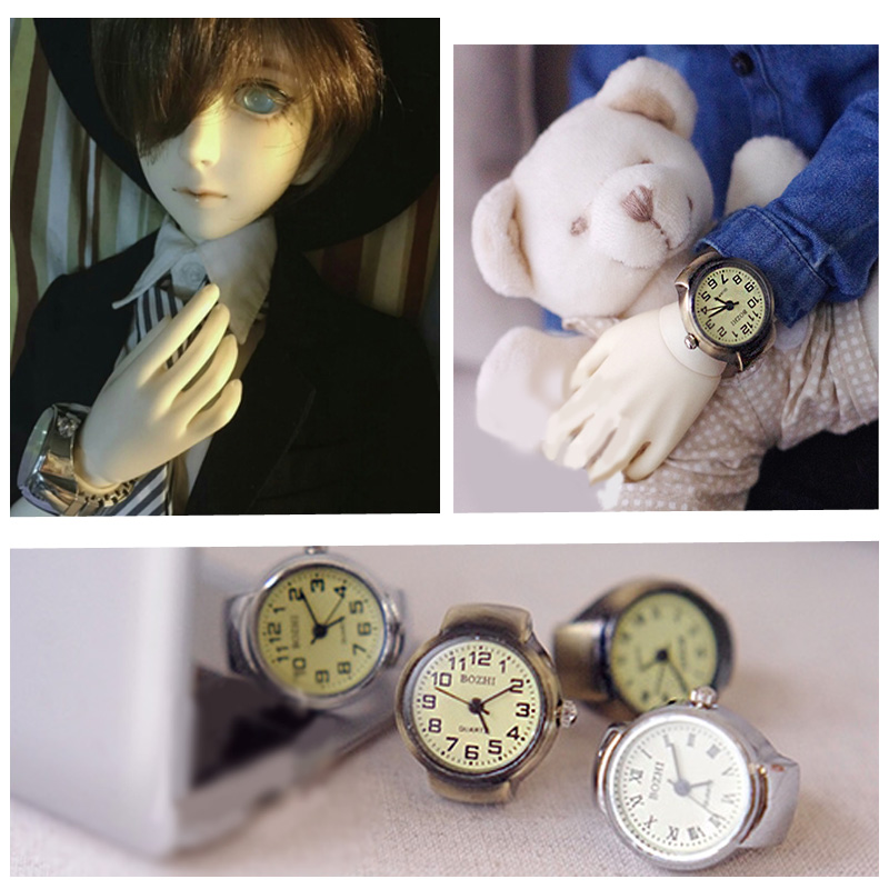 Vintage Cinnamon Bronze Watch for 1/3 Bjd dolls and for SD Dolls grass silver watch band hand watch for doll toys 1 3 1 4 1 6 1 8 1 12 bjd wigs fashion light gray fur wig bjd sd short wig for diy dollfie
