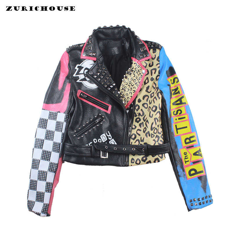 ZURICHOUSE 2019 Leather Jacket For Women Eagle Printing Short Zipper Biker Jackets Steampunk Faux Leather Motorcycle PU Coats