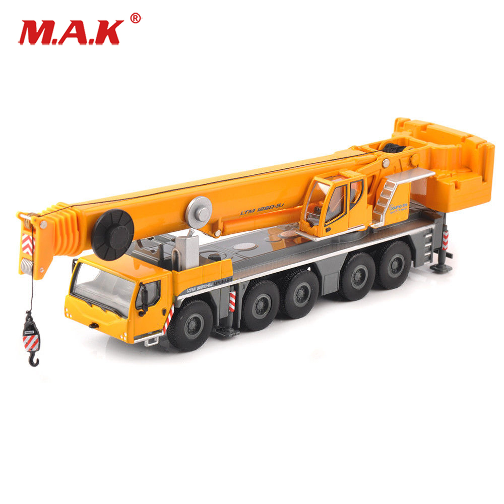Kids Toys for children 1:87 Yellow 1/87 LTM 1250-5.1 Car Model Toy Alloy Vehicle Lifting Crane Construction Truck Collection free shipping alloy engineering vehicle model 1 87 tower cable car crane toy original factory simulation children