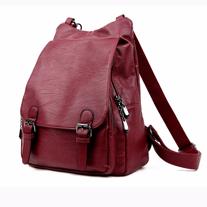 HOT 2018 New Style Solid Color PU Leather Woman's Backpack Casual Girl's School