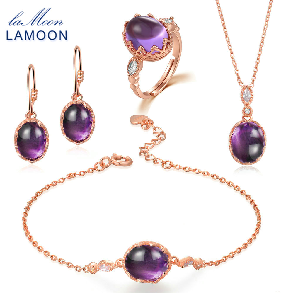 LAMOON Real 925 Sterling Silver Purple Amethyst Natural Gemstone 4PCS Jewelry Sets Fine Jewelry for Women