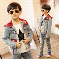 2016 Primavera jeans meninos criança jaqueta menino outerwear casaco casuais roupas da moda denim jaquetas para o menino denim casacos meninos Jaqueta