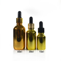 100pcs *15ml gold silver glass bottle glass dropper bottles electroplating essential oil 1/2 oz glass bottle with pipette