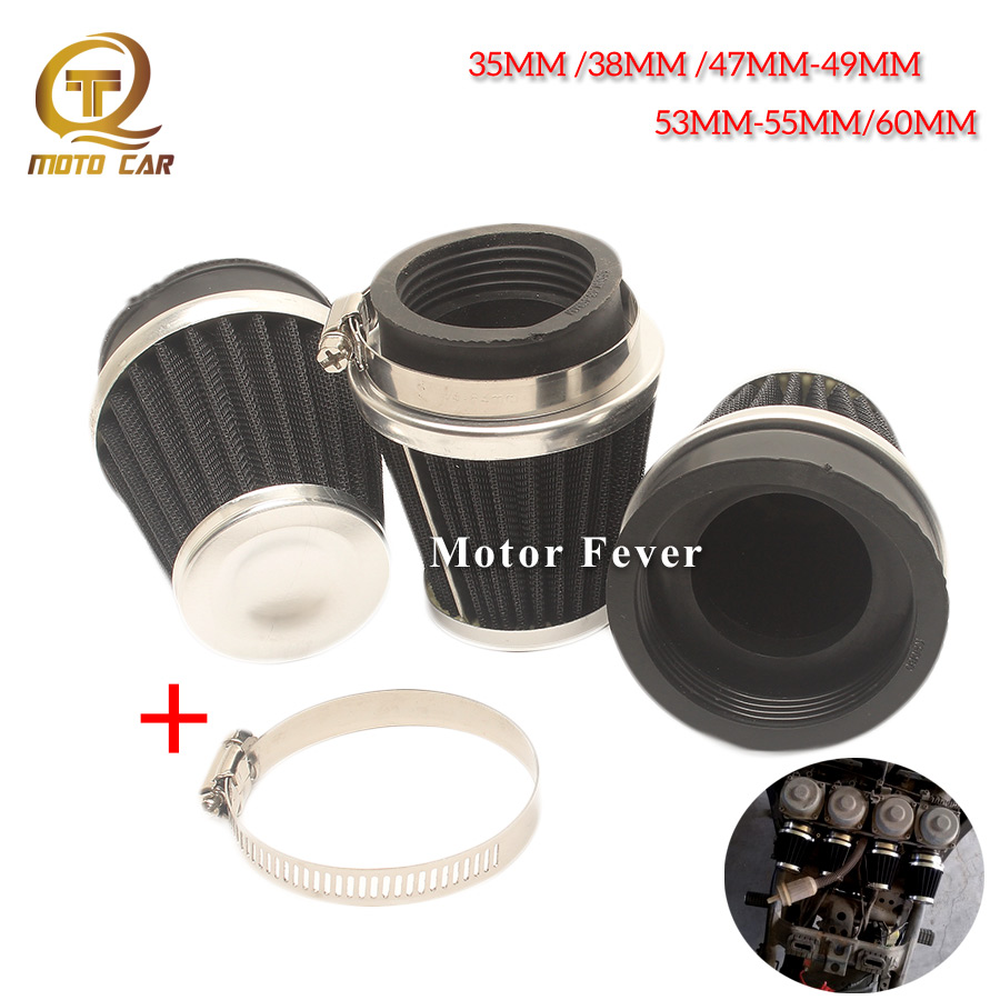 1pc Universal Motorcycle <font><b>Air</b></font> <font><b>Filter</b></font> Filtration 35/37/38/39/47/48MM/49MM/53MM <font><b>54MM</b></font> 55MM 60MM <font><b>Filter</b></font> <font><b>Air</b></font> Cleaner System image