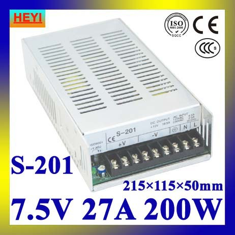 single output switching power supply 7.5V 27A 100~120V/200~240V AC input LED power supply 200W 7.5V transformer led power supply 24v 25a 100 120v 200 240v ac input single output switching power supply 600w 24v transformer