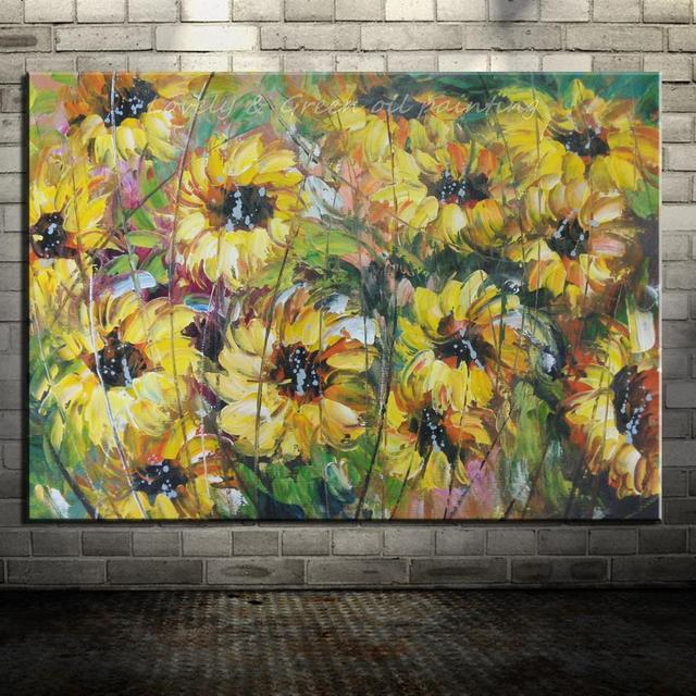100% Hand Painted Sunflower Oil Painting On Canvas Modern Wall ...