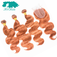 Allrun Peruvian Remy Hair Body Wave 3 Bundles With 4x4 Closure Orange Color Peruvian Body Wave