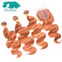Allrun Peruvian Remy Hair Body Wave 3 Bundles With 4x4 Closure Orange Color Peruvian Body Wave