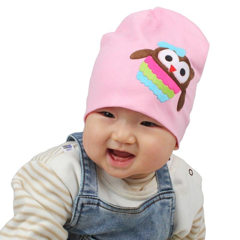 Mode babyhatt Infant Girls Bomull mössor för våren hösten owl - Babykläder