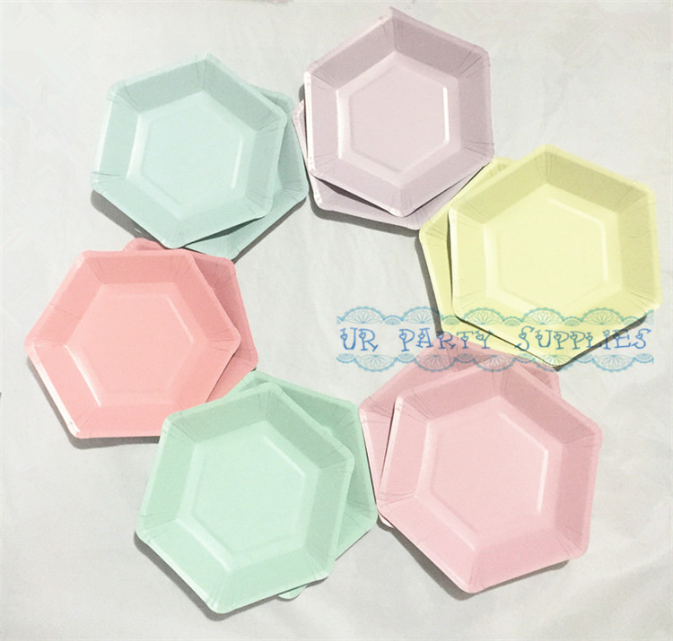 Free Shipping 600pcs Solid Color Hexagon Paper Plates Wedding Party Dessert Tableware Cake