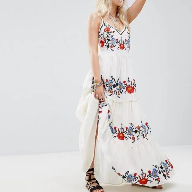 ae44a65bef White Layered Embroidery Maxi Dress Cotton Boho Summer Long Sleeveless  V-Neck Sexy Floral Hippie Chic Style Ethnic beach Dresses