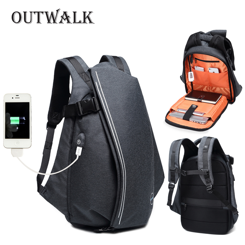 OUTWALK Fashion Men Backpack for Laptop 15.6 USB Port Waterproof Travel Backpack Large Capacity College Student School Backpack waterproof lightweight stylish classical school backpack pure color fashion laptop backpack with usb charge port