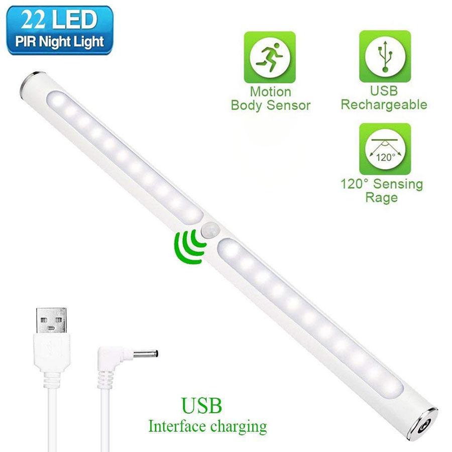 30CM SMD2835 22 LED Under Cabinet Light Wireless Motion Sensor Touch Control USB Rechargeable Closet night