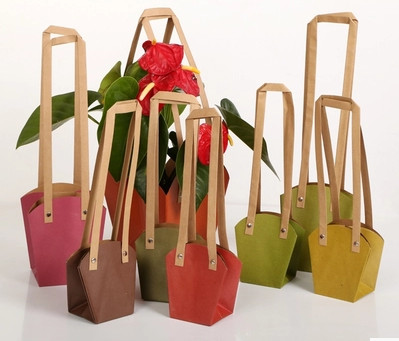 Small Size Waterproof Kraft Paper Flower Packing Bags With Paper Rope and Rivet 11x11cm Bonsai Package Flower Pot Carrier