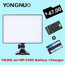 Yongnuo yn300 powietrza powietrza 3200 k-5500 k yn-300 pro kamera wideo światła led + akumulator np-f550 + ładowarka dla canon nikon