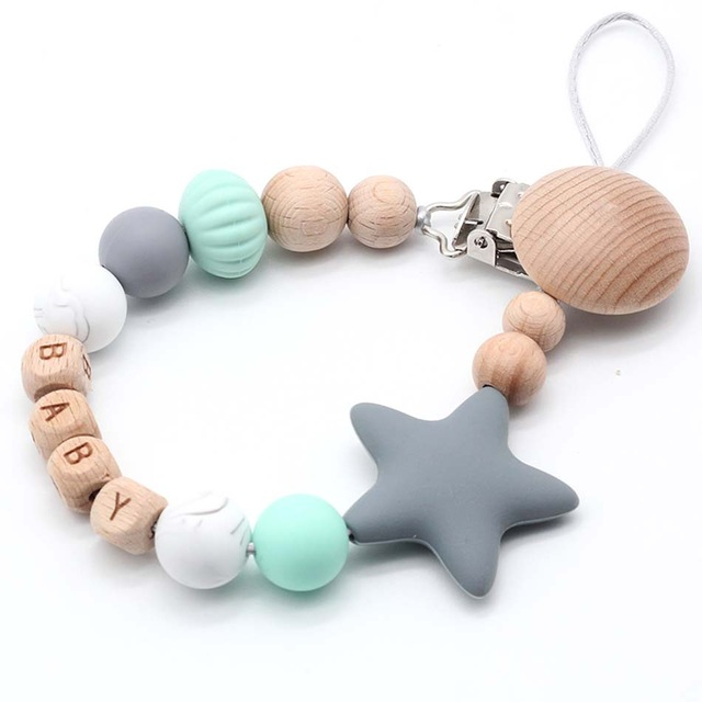 Organic Dummy Clip Pacifier Chain Holder Soother Beech Wood Letter Personalised Name Chewable Silicone Baby Shower Gift