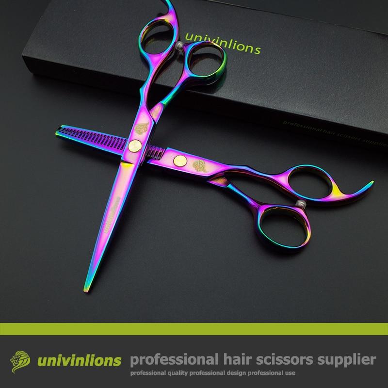 """6 """"nożyczki tytanu tęczy nożyce sprzedaż japońskie fryzjerskie nożyczki fryzjer brzytwa przerzedzenie nożyczki fryzjer sklep zaopatrzenie"""