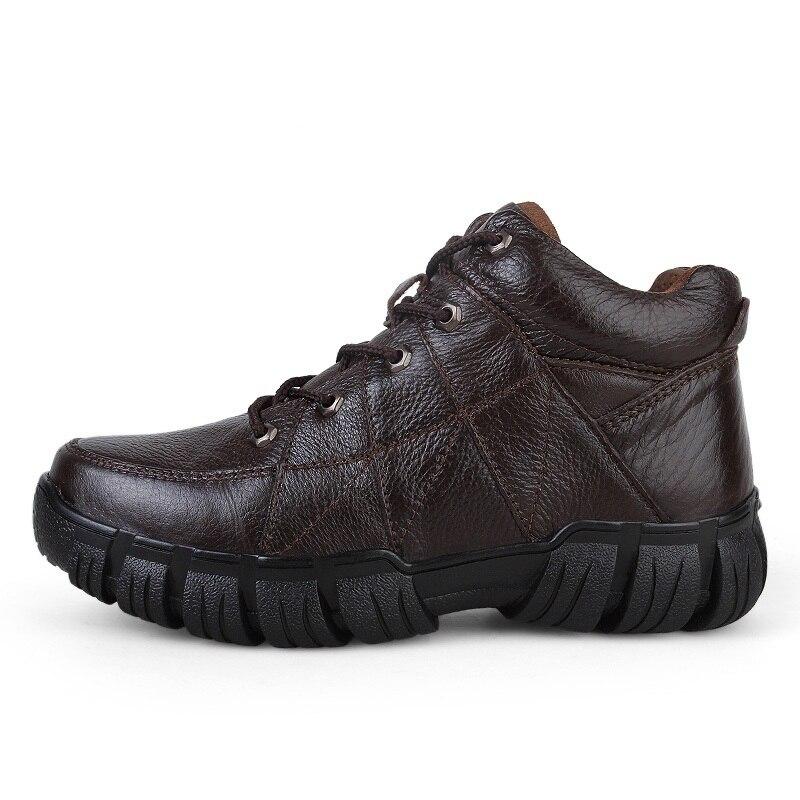 Boots Genuíno Homem Marca Inverno Invierno Fur Moda brown Ankle Homens Sapatos black Heinrich Hombre Black Couro Confortáveis De brown Fur Botas Zapatos pzFwqwX