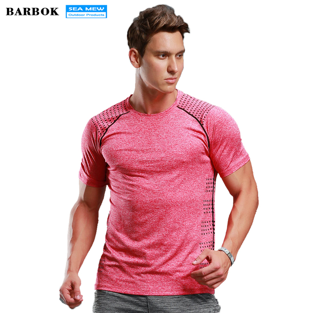 BARBOK hombres manga corta Fitness baloncesto Running Camiseta deportiva  muscular Bodybuilding Gym Compression Tights Jersey Tops ae877abaef86
