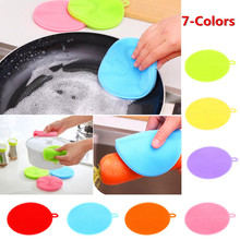 10pcs Kitchen Cleaning Brush Silicone Dishwashing Brushes Circular Dish Washing Fruit And Vegetable