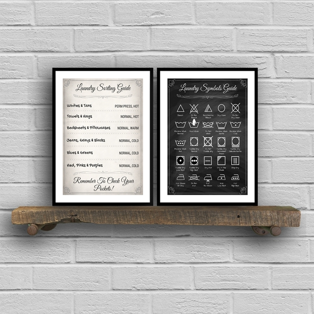 Laundry Sorting Guide Canvas Art Print And Poster Laundry Symbols