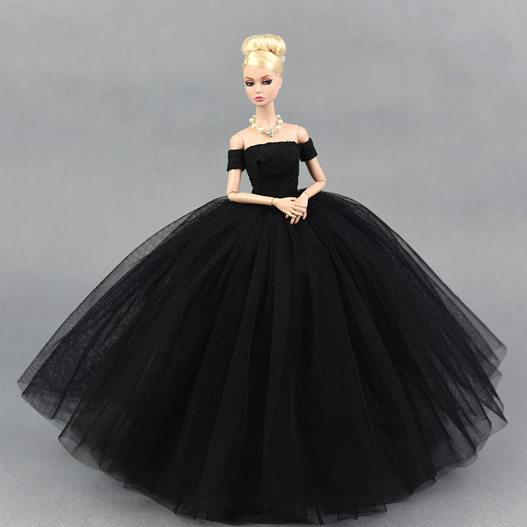 5e8cf695864f2 US $4.74 5% OFF|Dress + Veil / Black Lace Party Dress Evening Gown Bubble  skirt Clothing Outfit Accessories For 1/6 BJD Xinyi FR ST Barbie Doll-in ...