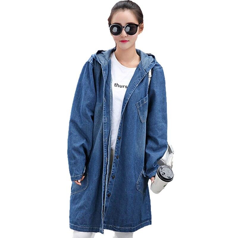 2017 vintage larga básica abrigos loose women casual jean chaquetas girls street