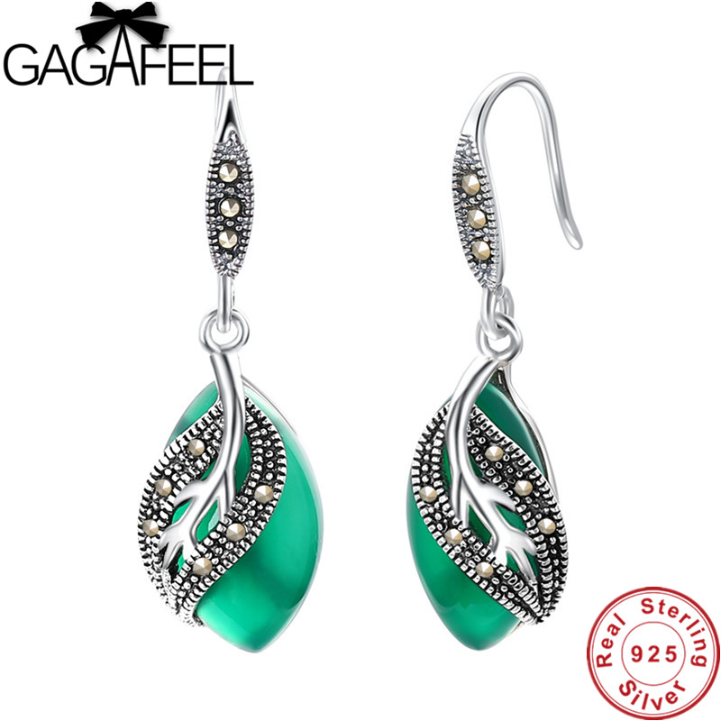 GAGAFEEL 925 Sterling Silver Earrings Green White Stone Leaves Leaf Earrings Dangles for Women Ladies Thai Silver Jewelry er 5302 women s fashionable leaf style zinc alloy earrings green pair