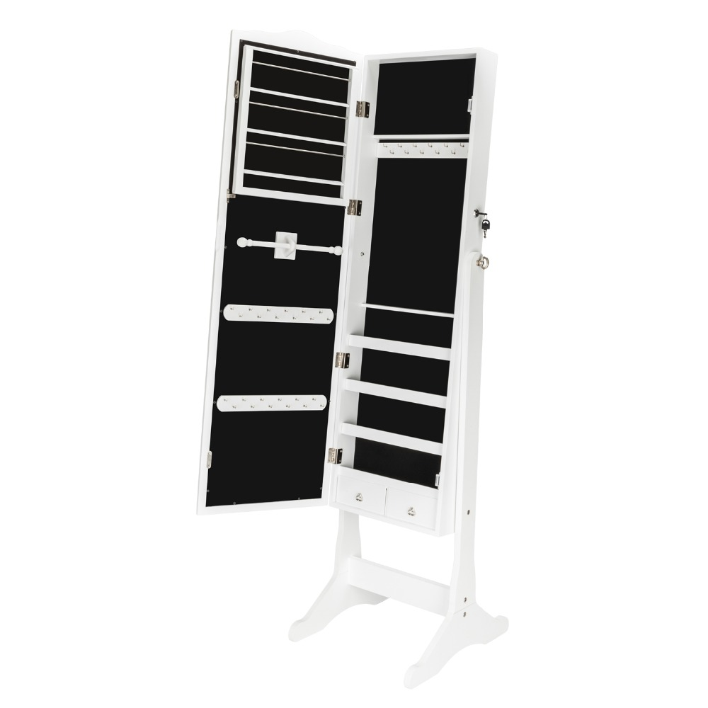 Lockable Jewelry Cabinet Organizer Storage Box Stand with Makeup mirror White Dresser Home Furniture for bedroom (14)