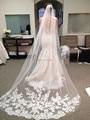 Невеста Покрывалами Белый Аппликация Тюль 3 м вэу de noiva длинные свадебные покрывалами свадебные аксессуары кружева фата