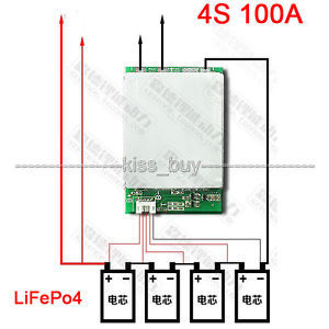 4S 12 В 100A BMS LiFePo4 Литиевая батарея железо защиты доска w баланс зарядки